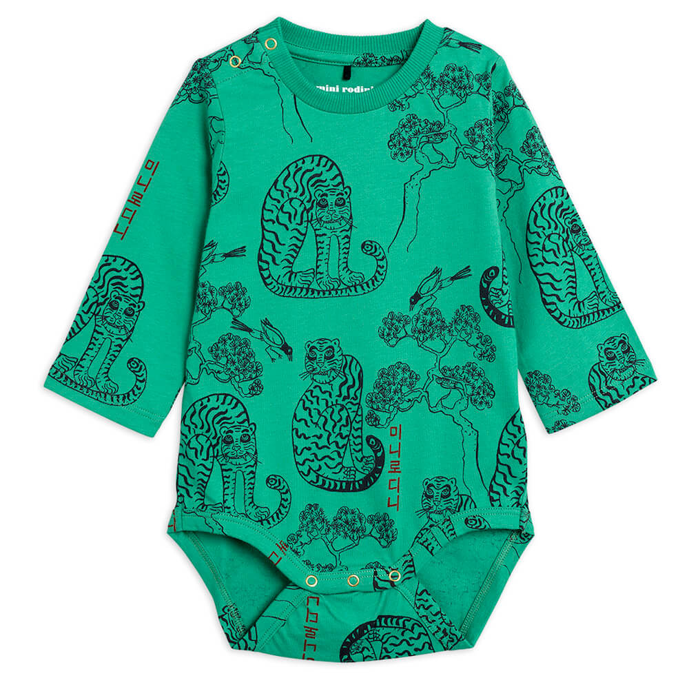Buy Mini Rodini Australia Tiger L/S Bodysuit Green | Tiny People