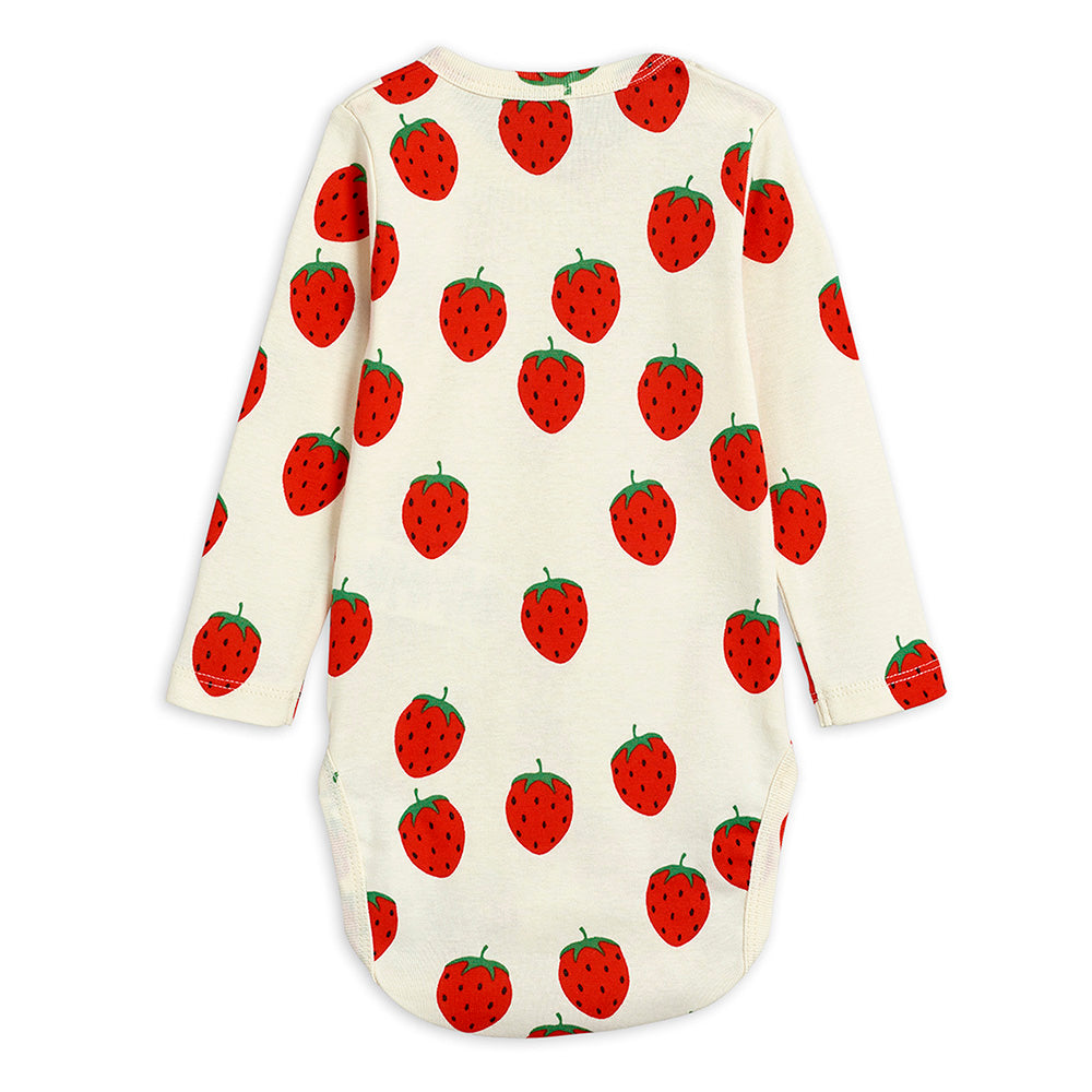 Mini Rodini Strawberry L/S Bodysuit | Tiny People