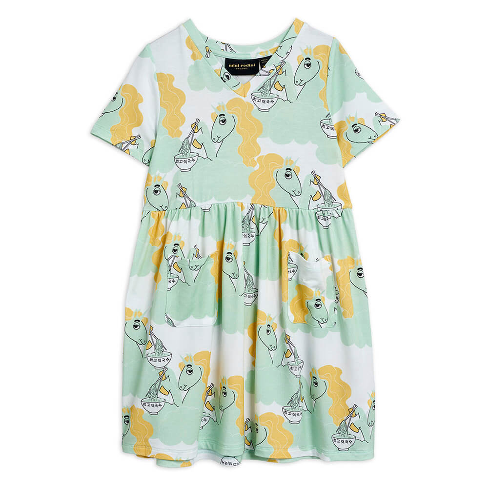 Boutique Mini Rodini Australia Unicorn Noodle SS Dress Green | Tiny People
