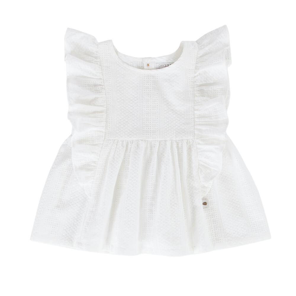 Peggy Juniper Top White Broidere | Tiny People