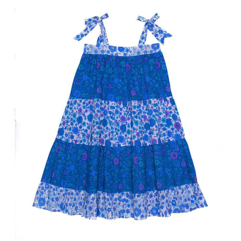 Coco & Ginger April Dress Blue Dahlia Patch Girls Dresses - Tiny People Cool Kids Clothes