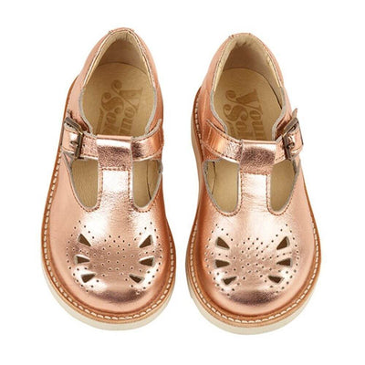 Young Soles Rosie T-Bar Shoes Rose Gold Tiny People Shop Australia.