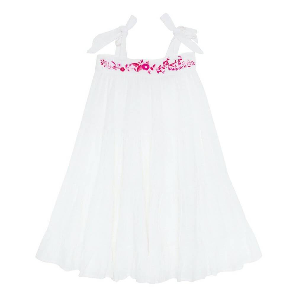 Coco & Ginger April Dress Gardenia with Embroidery Girls Dresses - Tiny People Cool Kids Clothes