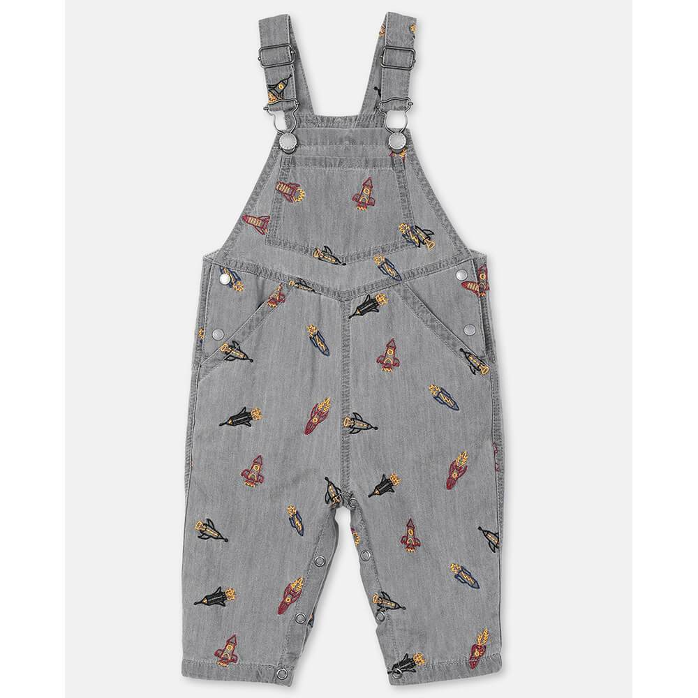 Rockets Embroidery Chambray Overalls