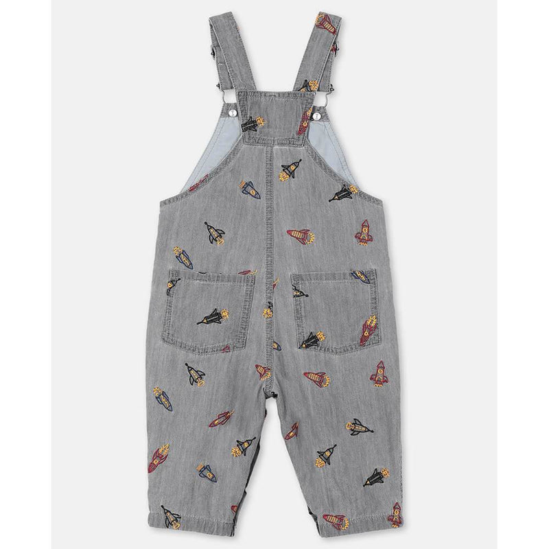 Stella McCartney Rockets Embroidery Chambray Overalls Overalls - Tiny People Cool Kids Clothes