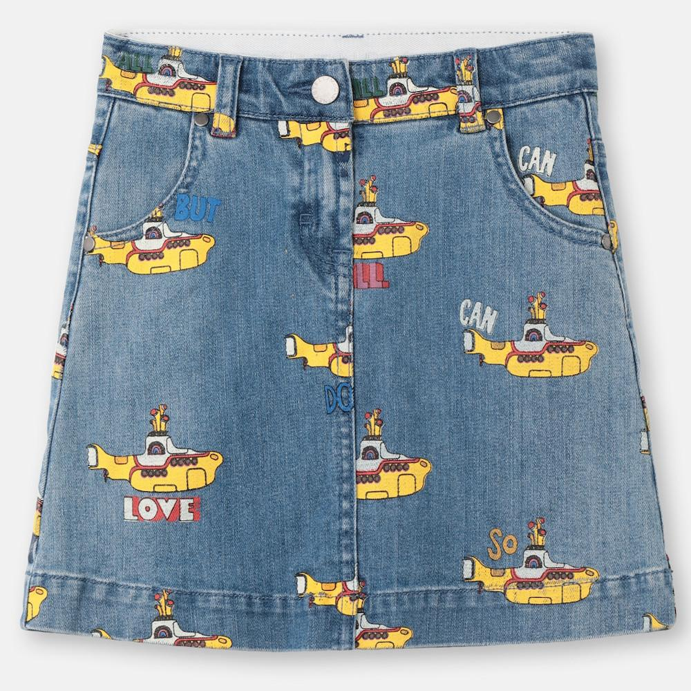 Yellow Submarine Denim Mini Skirt