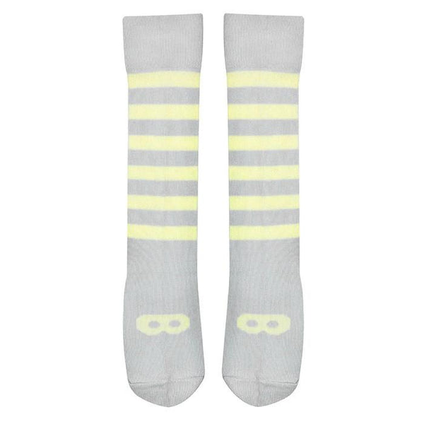 Beau Loves Knit Knee High Socks Lemon Mask and Stripes Dove Grey - Tiny People shop