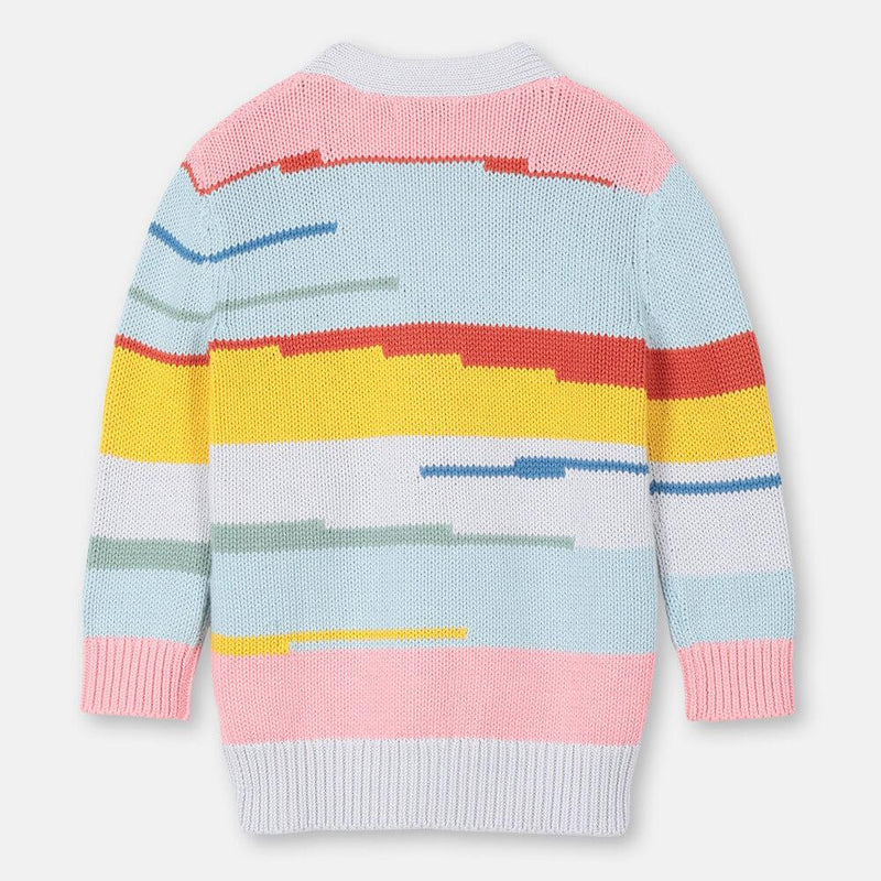 Multicolour Stripes Cotton-Wool Cardigan