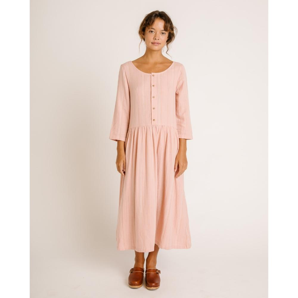Zinnia Long Sleeve Dress Rose Stripe