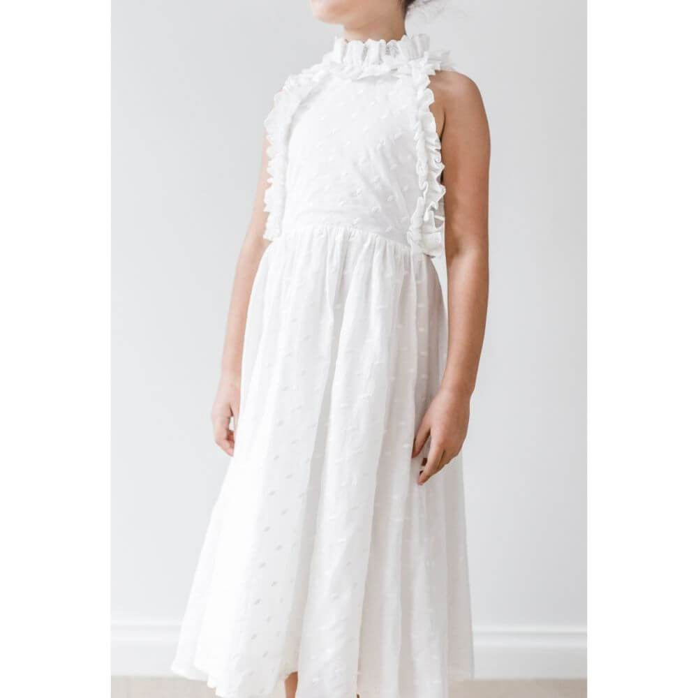 Petite Amalie Embroidered Dot Midi Dress | Tiny People