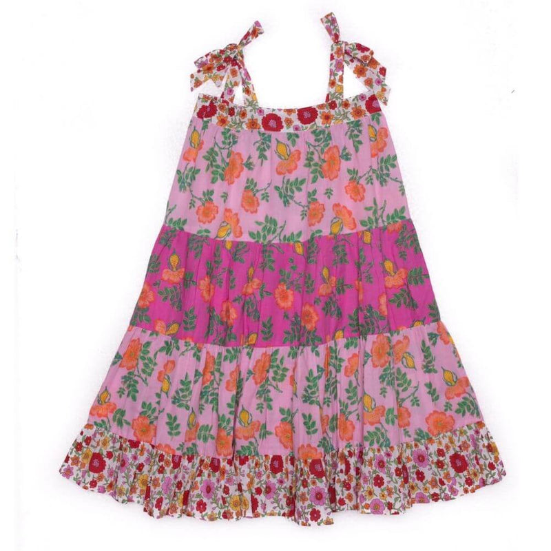 Coco & Ginger April Dress Pink Dogwood Rose Patch Girls Dresses - Tiny People Cool Kids Clothes