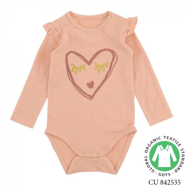 Soft Gallery Fifi Body Onesie Dusty Pink Heart Art - Tiny People Cool Kids Clothes Byron Bay