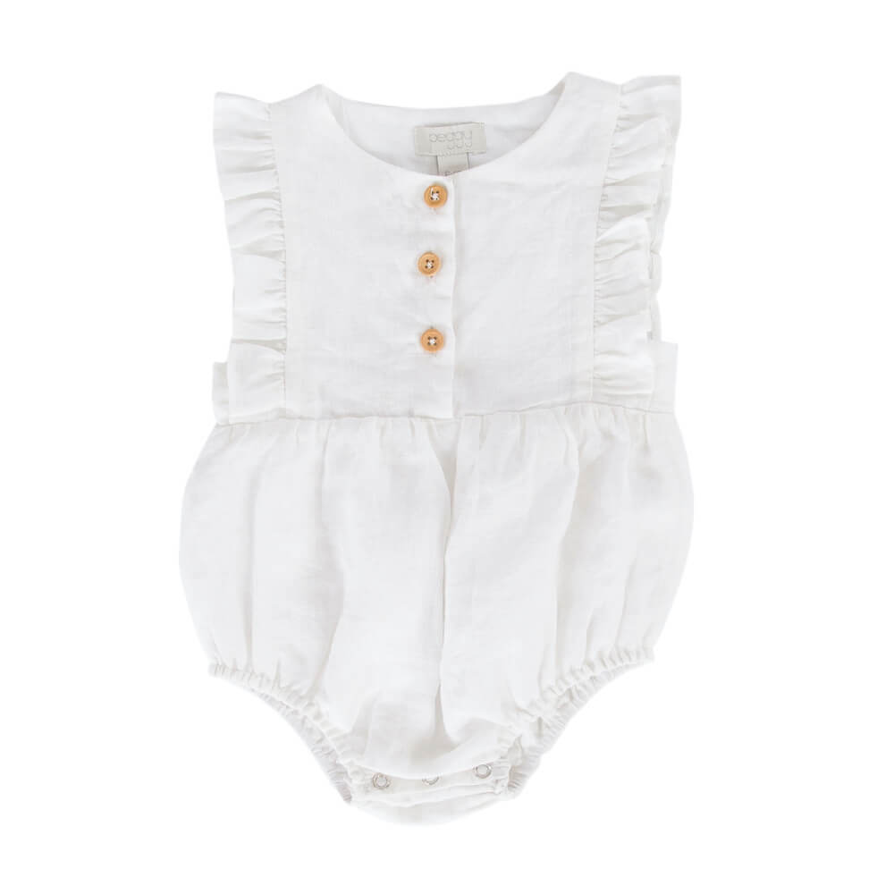 Peggy August Playsuit White Cotton Linen | Tiny People