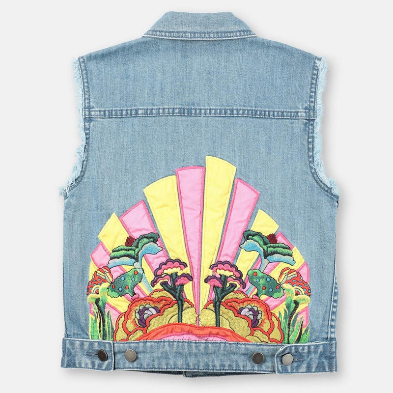 Embroidered Denim Vest