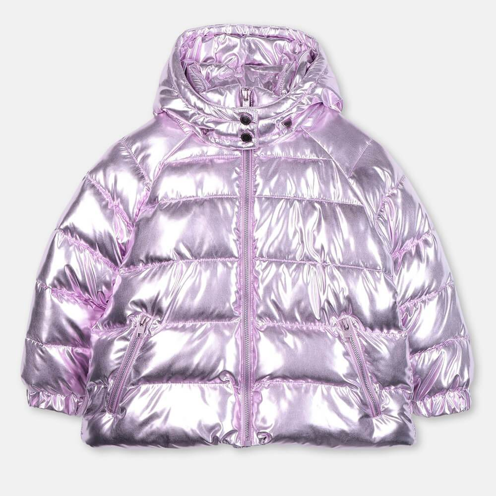 Stella McCartney Lilac Foil Puffer Jacket Outerwear - Tiny People Cool Kids Clothes