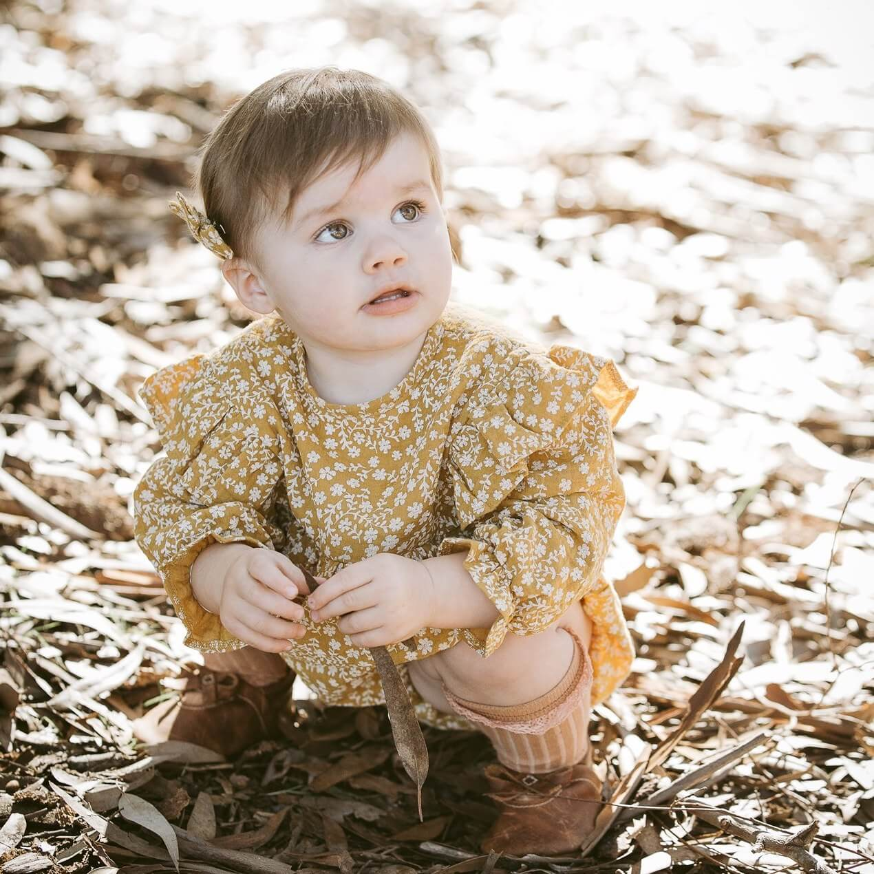 Wild Wawa Clover Playsuit Mustard | Tiny People