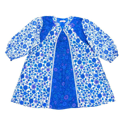 Coco & Ginger Athena Dress Blue Dahlia Patch Girls Dresses - Tiny People Cool Kids Clothes