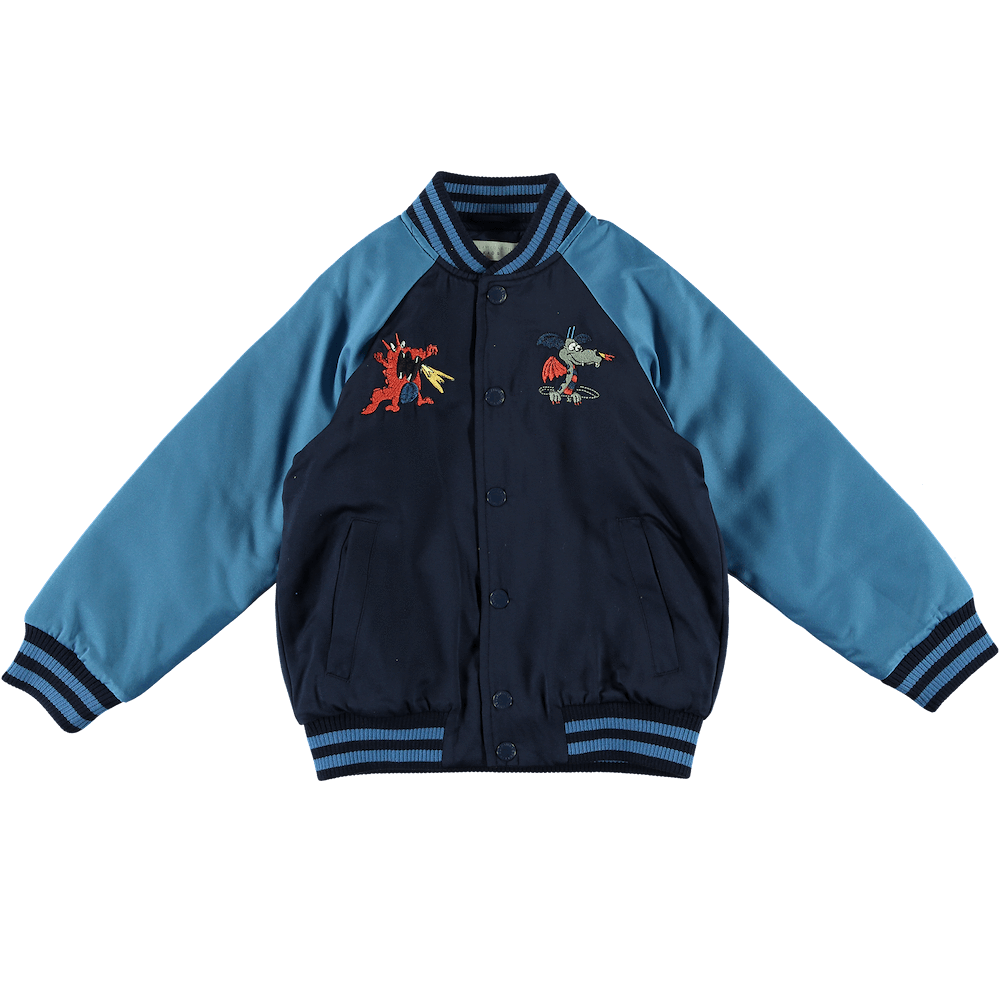 Embroidered Midnight Bomber Jacket