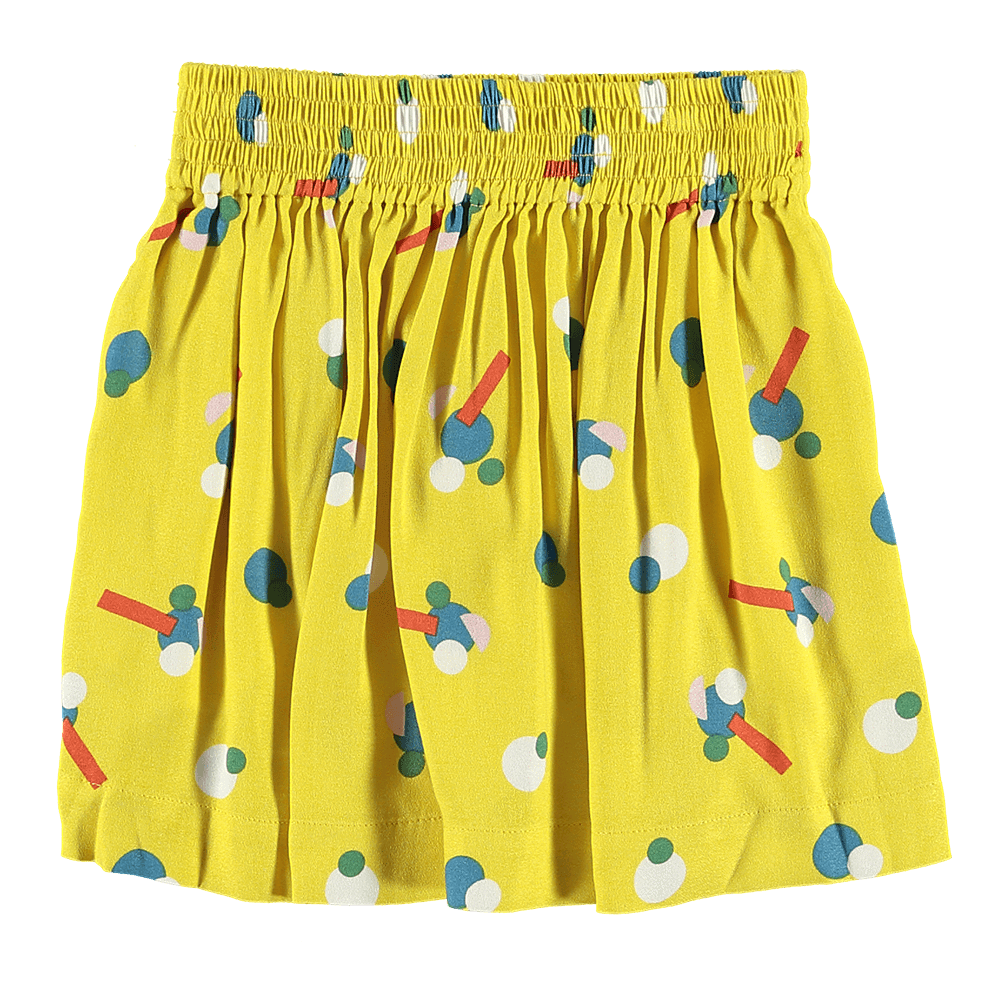Flower Sticker Viscose Skirt