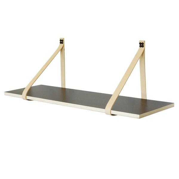 Leather Strap Shelf Black