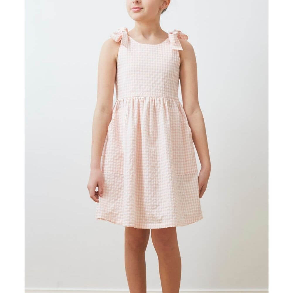 Petite Amalie Check Tie Dress Pink / White | Tiny People