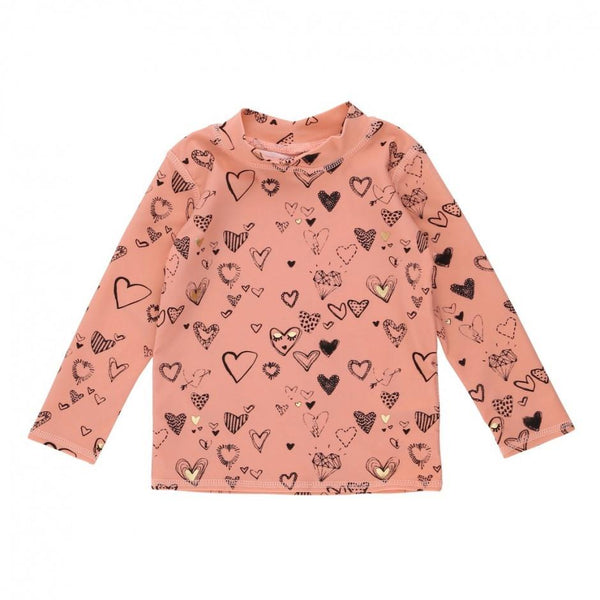 Soft Gallery Baby Astin Sun Shirt Coral Almond Heartart - Tiny People Cool Kids Clothes Byron Bay