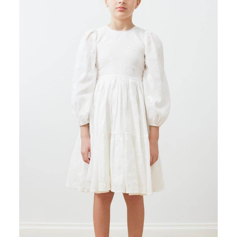 Petite Amalie Embroidered Butterfly Dress White | Tiny People
