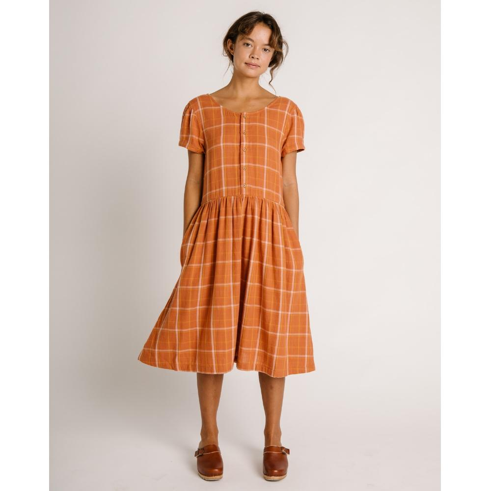 Linden Short Sleeve Dress Rust Check