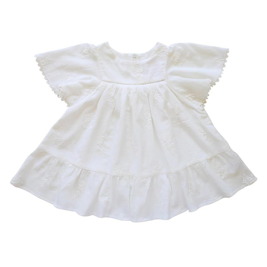 Aubrie Mariposa Dress Embroidered Georgette Girls Dresses - Tiny People Cool Kids Clothes