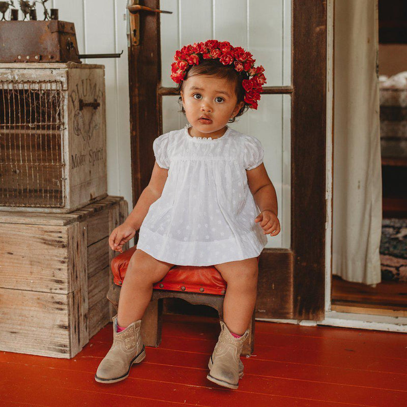 Baby girls Primrose Smock Top by Aubrie at Tiny People Shop Australia.