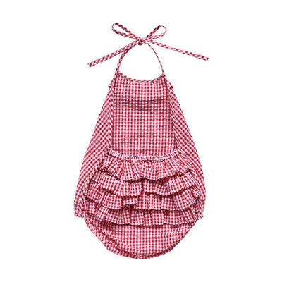 Aubrie Ruffle Romper in Cherry Gingham at Tiny People Shop Australia.
