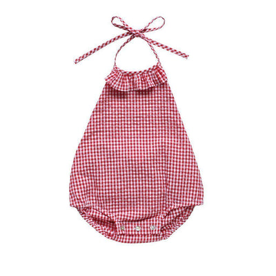 93a52bd77905 Aubrie Ruffle Romper in Cherry Gingham at Tiny People Shop Australia.