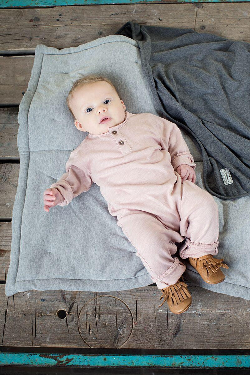 I Dig Denim Barney Jumpsuit - Pink Baby Jumpsuits - Tiny People Cool Kids Clothes