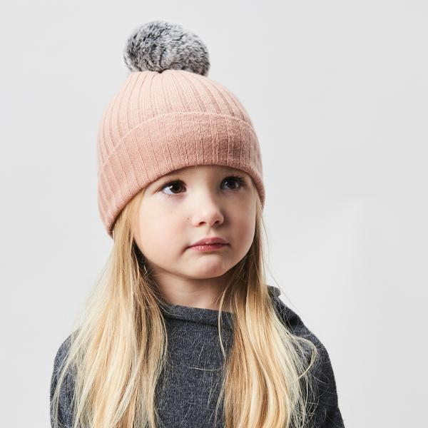 Belle Enfant Pompom Hat - Peach Beanie - Tiny People Cool Kids Clothes