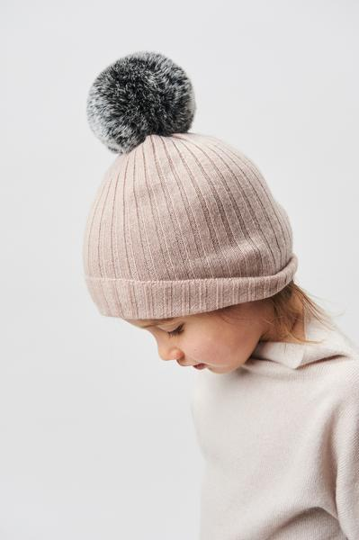 Belle Enfant Pompom Hat - Rose Beanie - Tiny People Cool Kids Clothes
