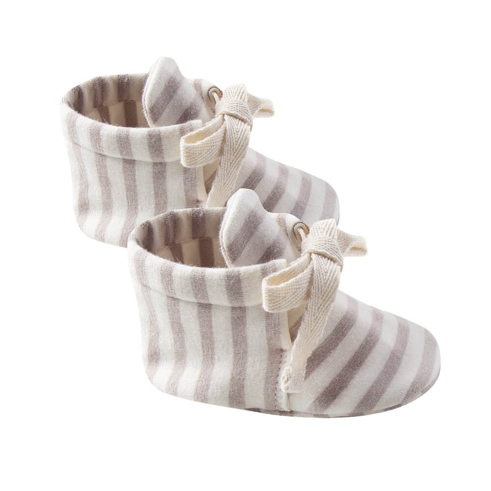 Quincy Mae Baby Booties Fog Stripe | Tiny People