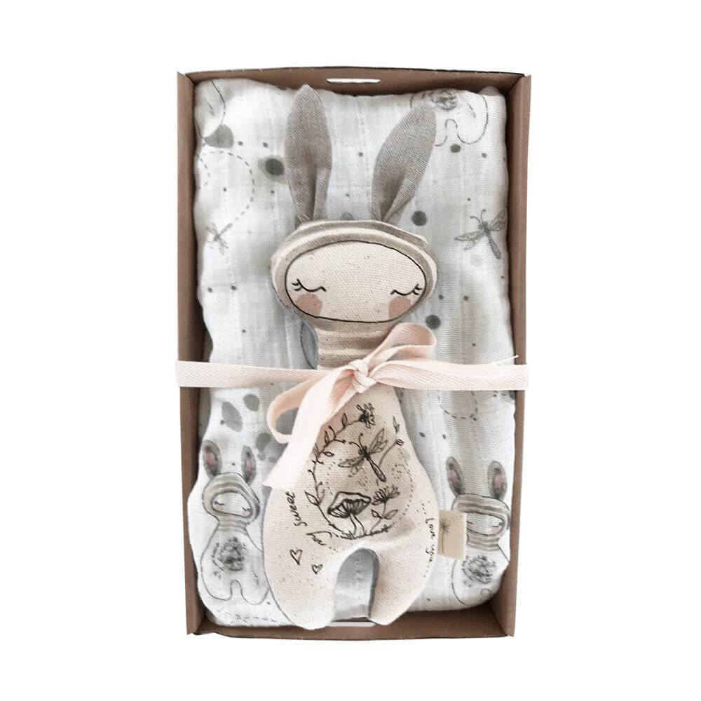 These Little Treasures Baby Rattle & Swaddle Pack Bunny | Tiny People