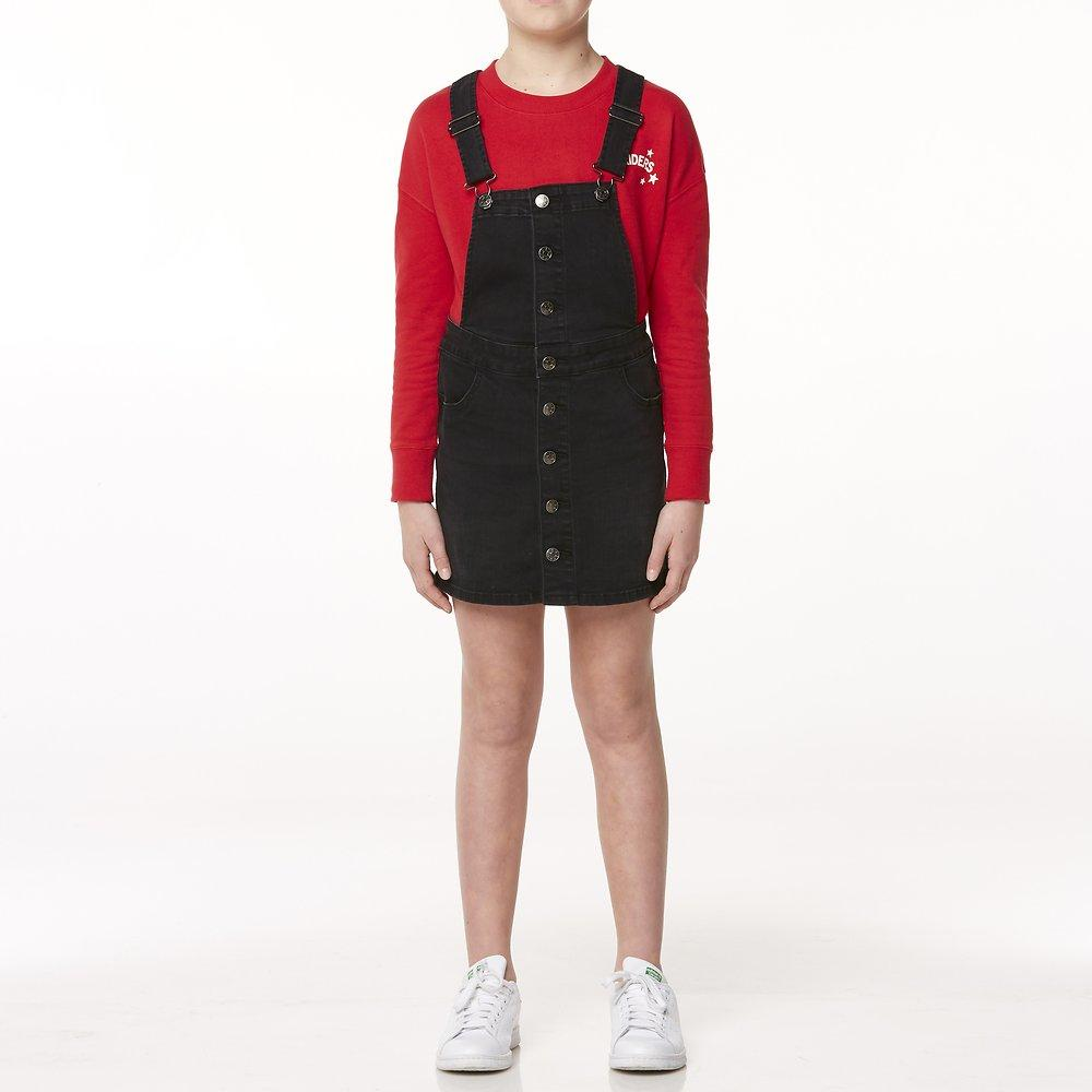 Button Thru Dungaree Dress Licorice Wash
