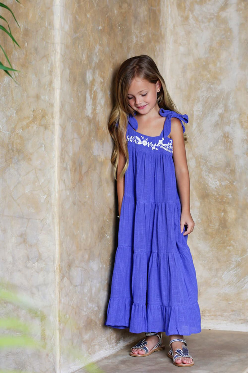 Coco & Ginger April Dress Sapphire with Embroidery Girls Dresses - Tiny People Cool Kids Clothes