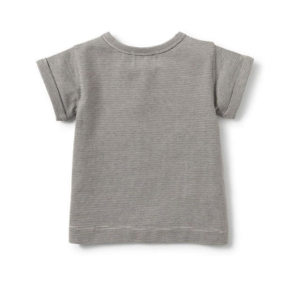 Wilson and Frenchy Charcoal Stripe Placket Tee - Tiny People Cool Kids Clothes Byron Bay