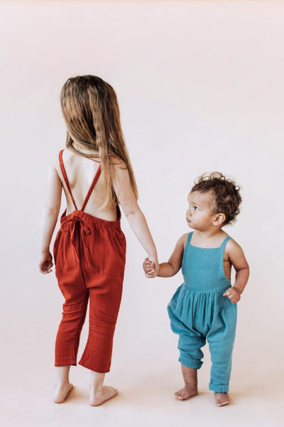 Goldie & Ace Winnie Woven Cotton Overalls - Clay - Tiny People Cool Kids Clothes Byron Bay