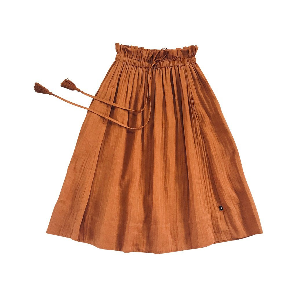 Feather Drum Daria Maxi Skirt Cinnamon Girls Skirts - Tiny People Cool Kids Clothes