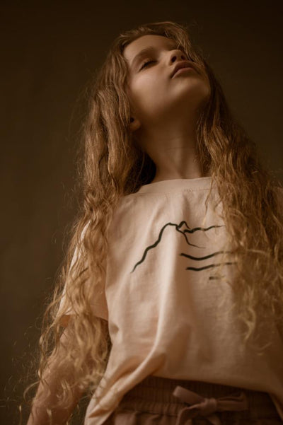 Feather Drum Crew Neck Tee - Dusk Mountain - Tiny People Cool Kids Clothes Byron Bay
