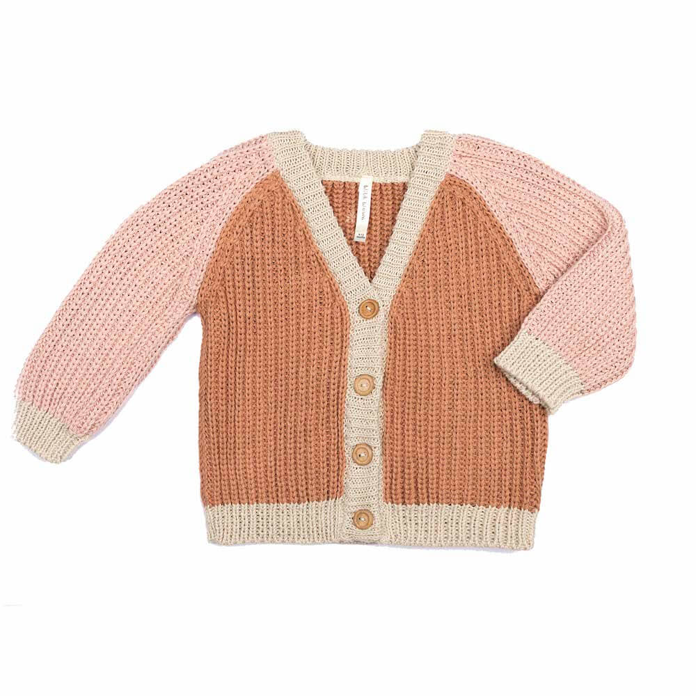 Wild Wawa Rainbow Cardigan Pecan Old Rose | Tiny People