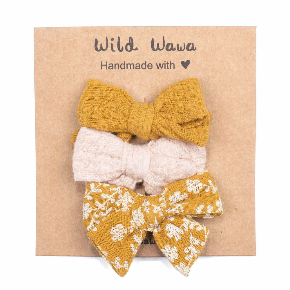 Wild Wawa Bow Clips 3PC Mustard | Tiny People
