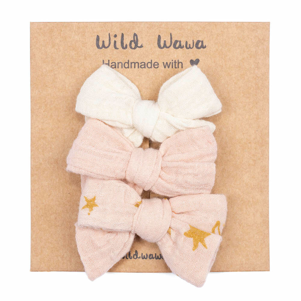 Wild Wawa Bow Clips 3PC Soft Pink | Tiny People