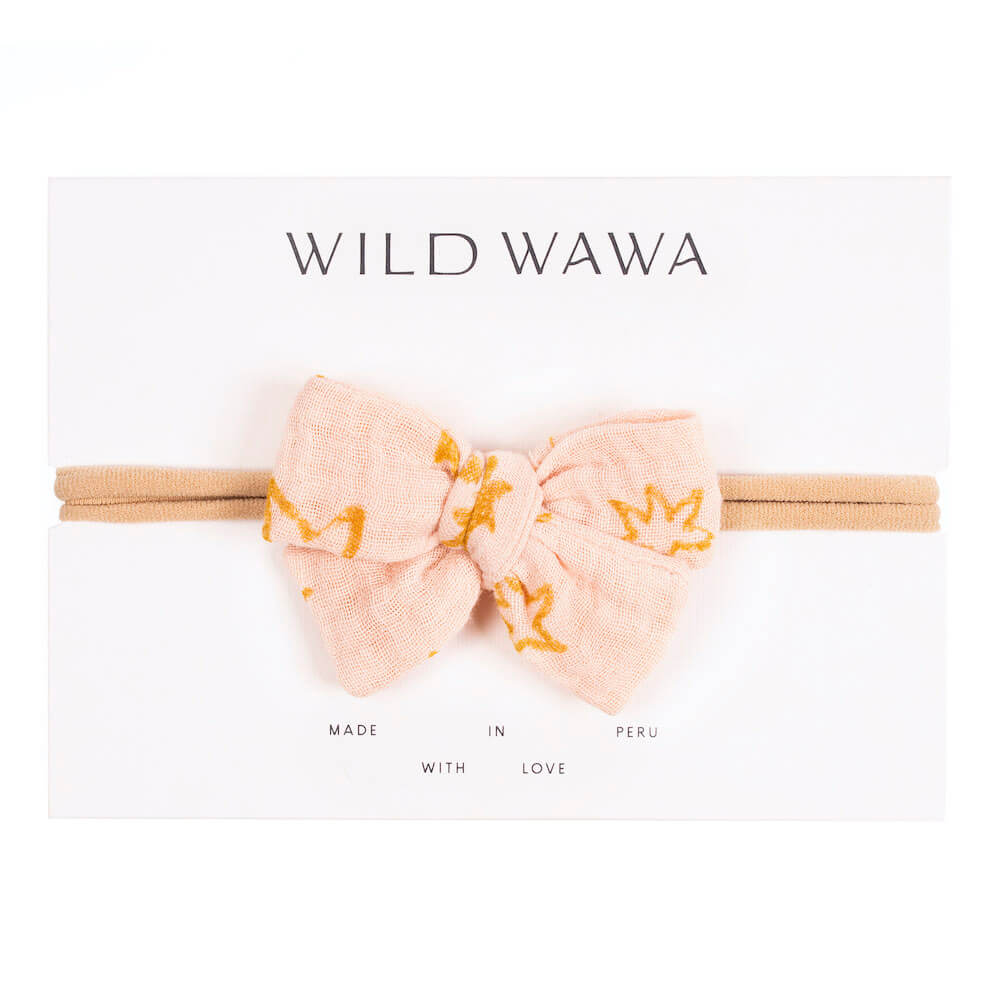 Wild Wawa Bow Headband Soft Pink Stars | Tiny People