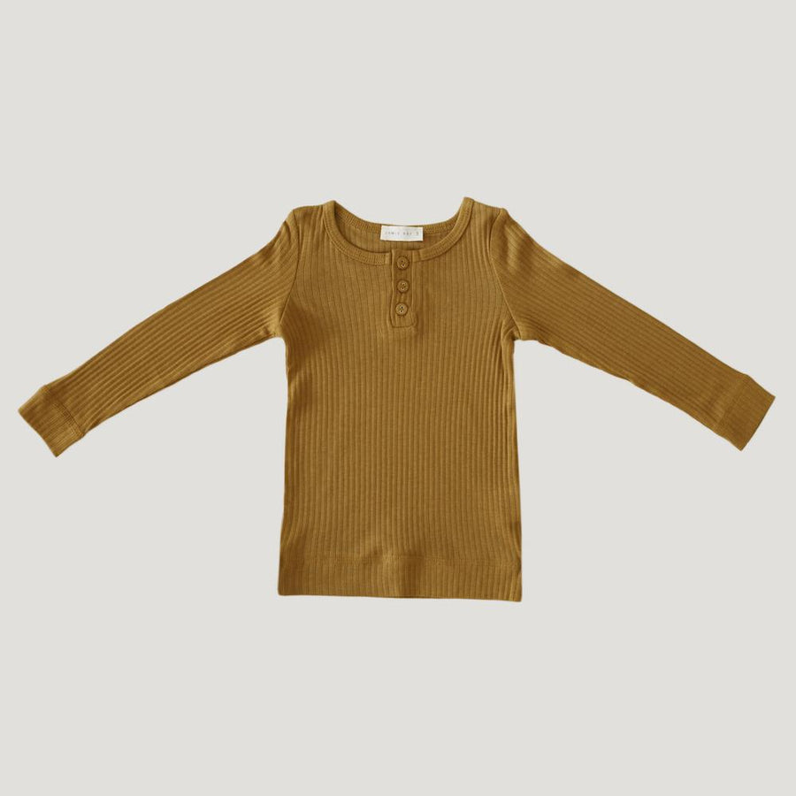 Cotton Modal Henley Top Golden