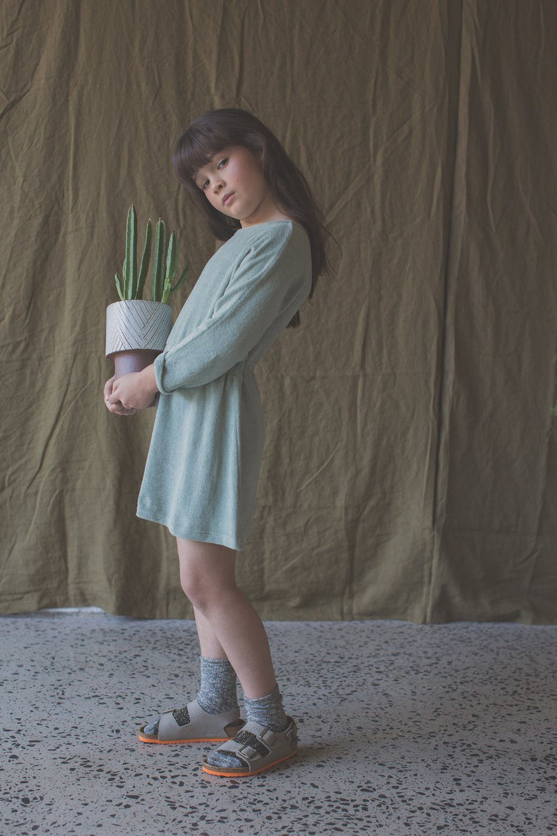 Feather Drum Maya Dress in Mint at Tiny People Shop Australia.
