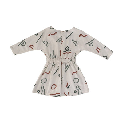 Feather Drum Maya Dress in Abstract print at Tiny People Shop Australia.